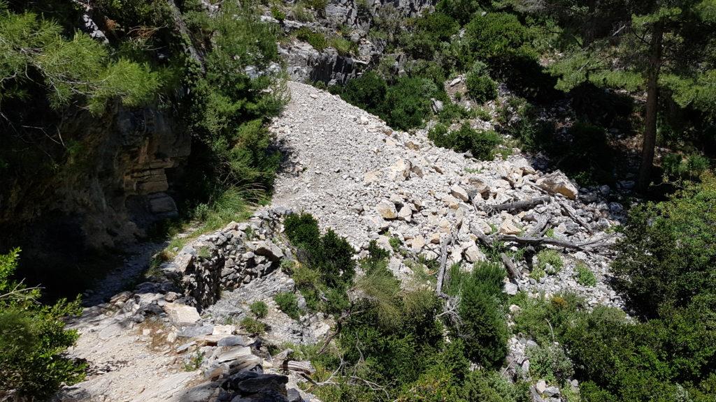 Vista del Derrumbe de piedras una vez superado